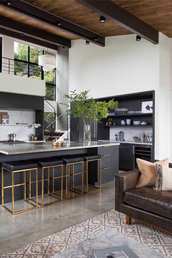 A sala com cozinha americana é uma das grandes tendências do momento.
