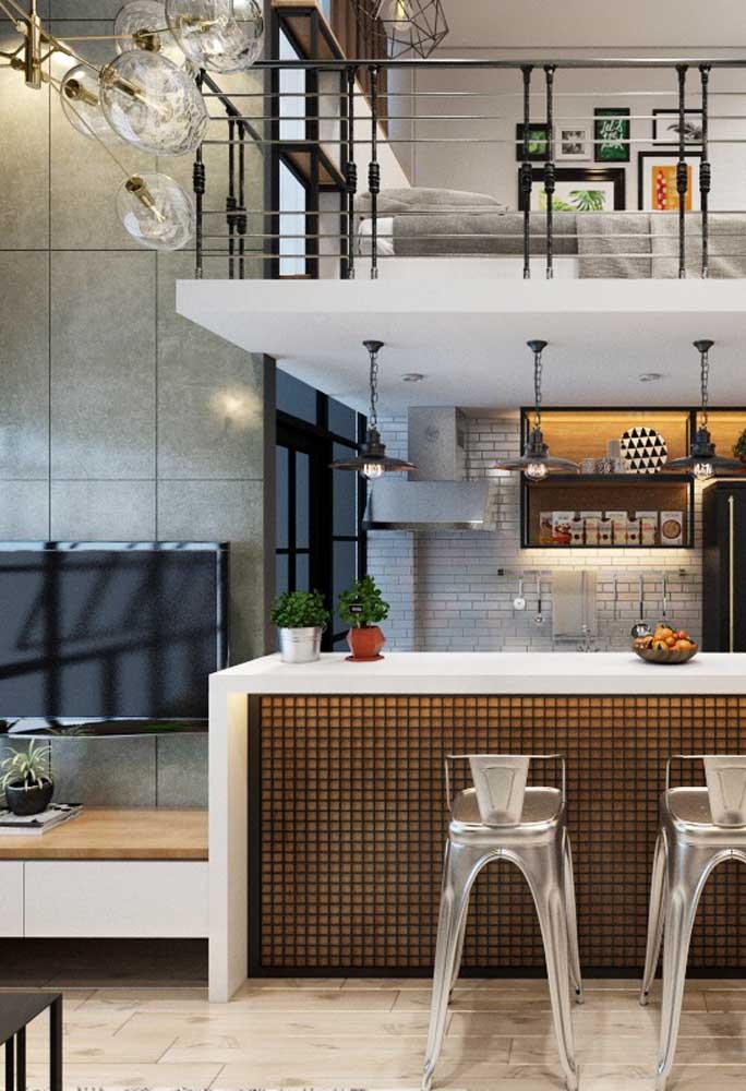 O que acha de fazer uma cozinha americana com sala de tv?