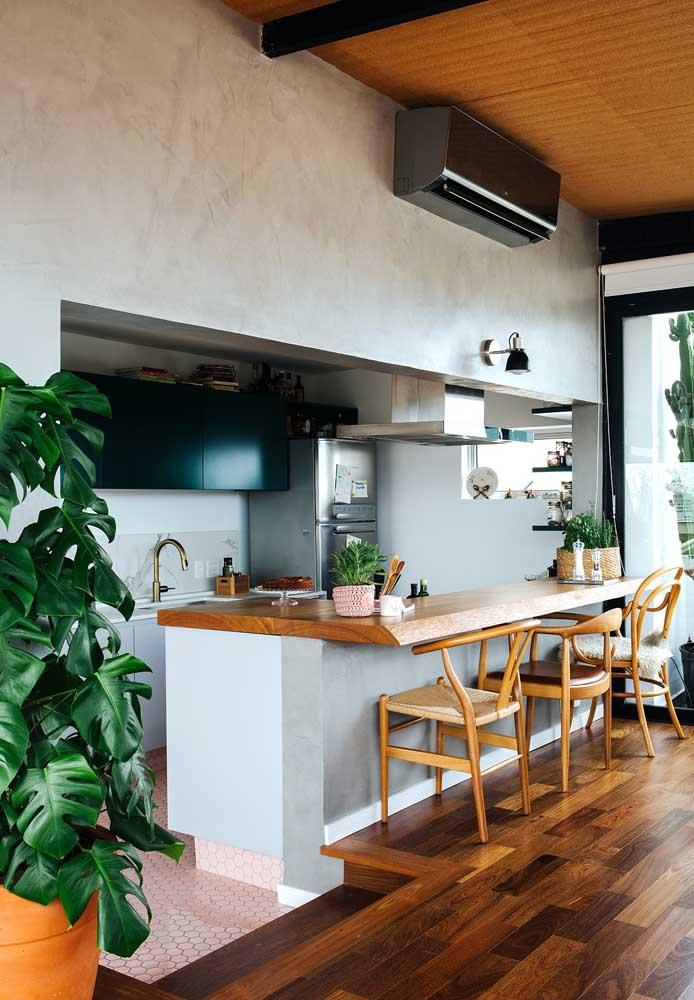 Faça uma decoração diferenciada na integração da cozinha com sala.