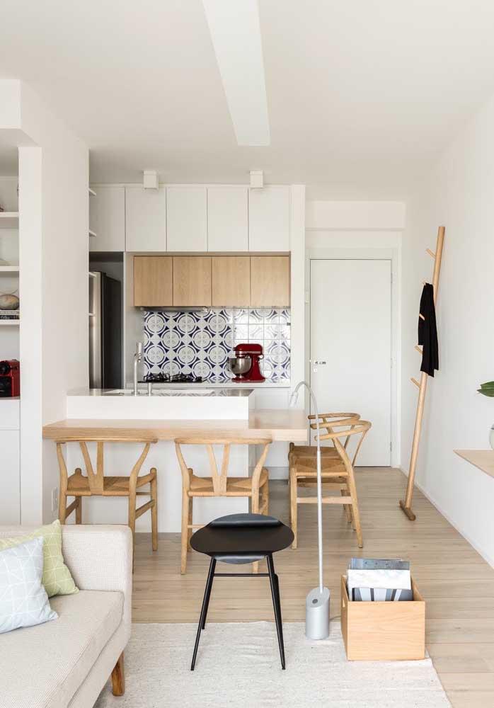 Olha como você pode fazer a cozinha americana com sala de jantar.