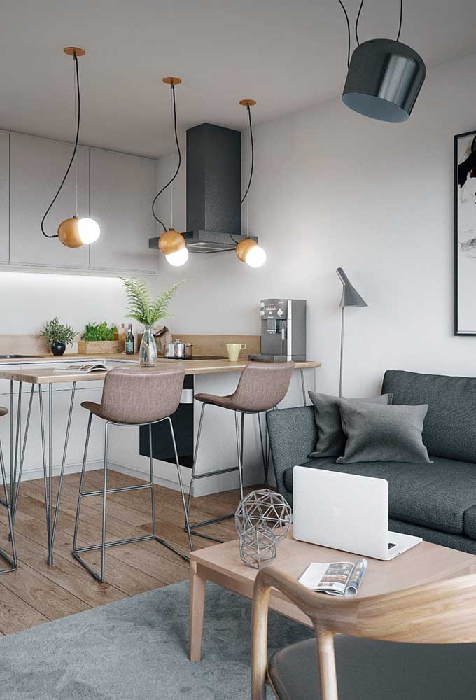A cozinha americana com sala é muito usada em ambientes pequenos.