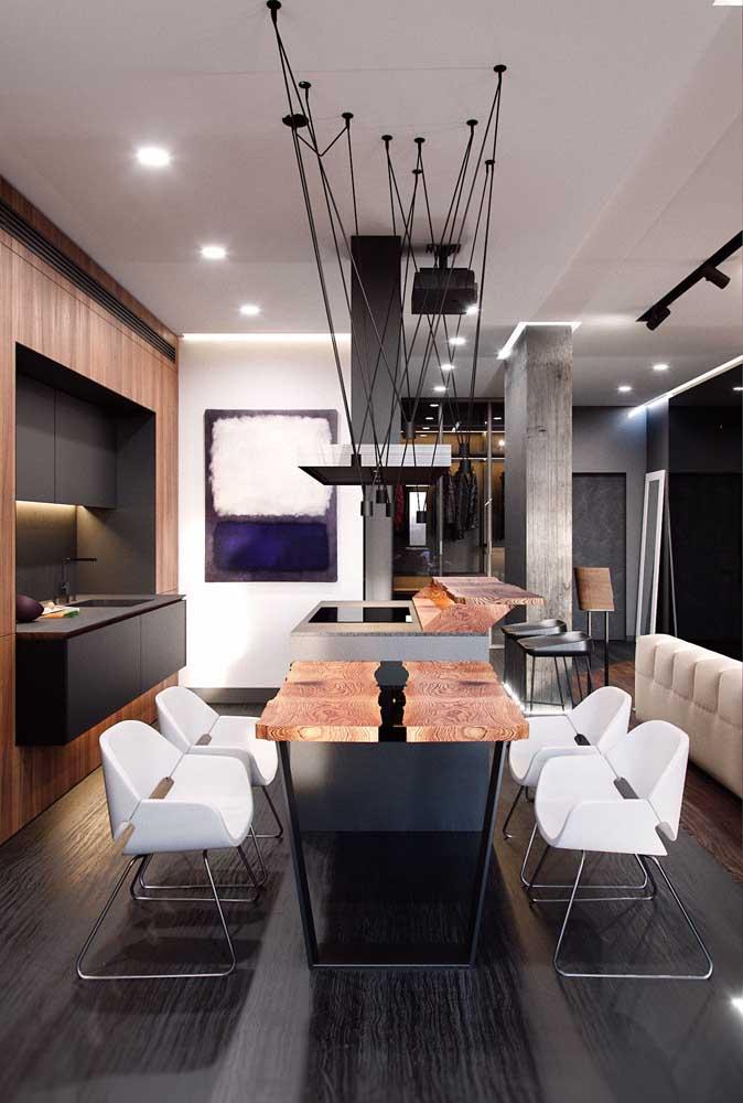 Olha que cozinha americana com sala mais moderna, elegante e sofisticada.