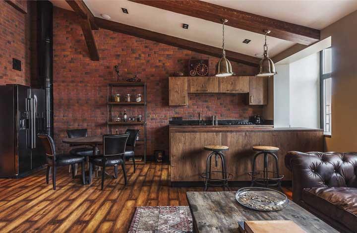 A cozinha americana com sala pode ser feita em uma casa.