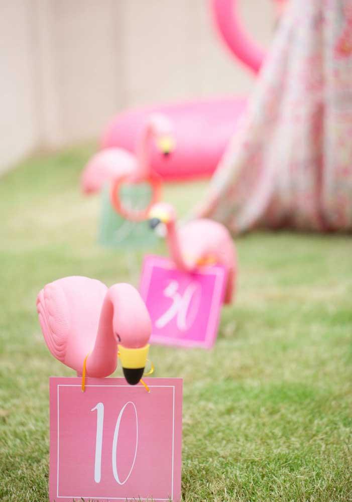 O que acha de fazer algumas plaquinhas com flamingos para orientar os convidados?