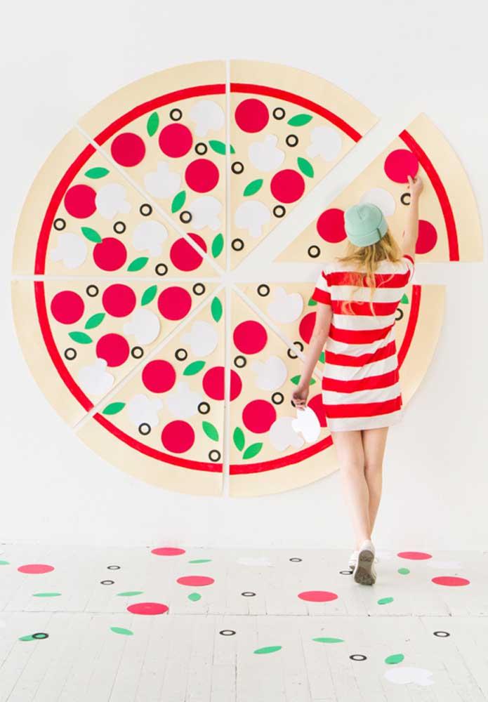 Veja que ideia genial para fazer uma decoração diferenciada na noite da pizza.