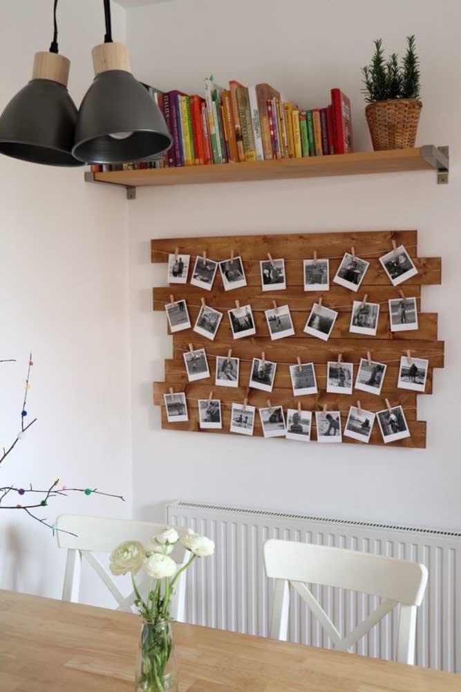 Quer guardar suas fotos de viagem? Faça um mural com o painel de pallet.