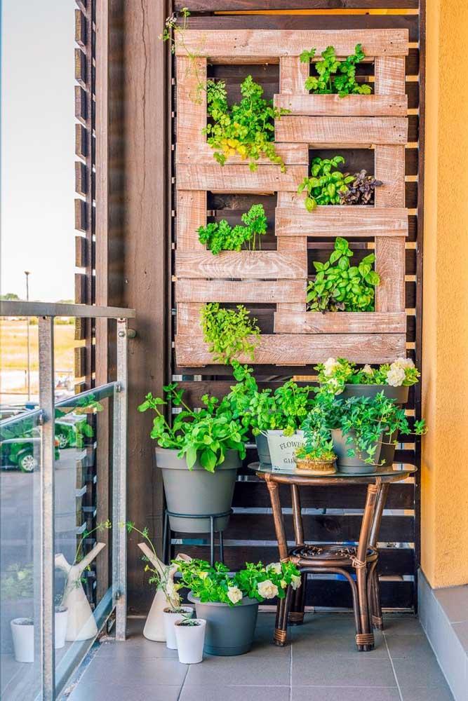Um belo jardim não precisa ser feito com peças caras, pois basta investir em painel de pallet.
