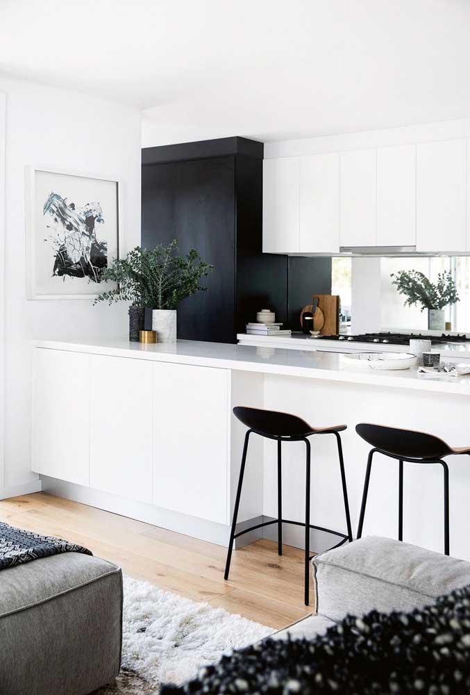 Os quadros para cozinha preto e branco são perfeitos para um ambiente minimalista.