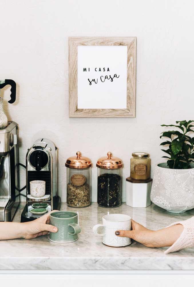 Que tal usar um quadro para dar boas-vindas aos seus convidados?