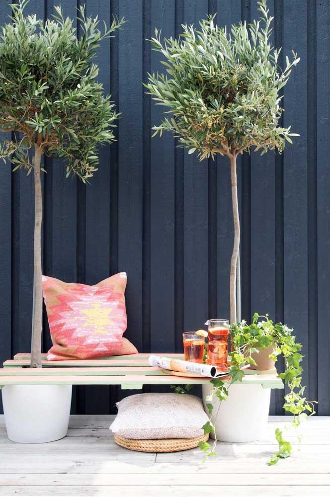 Pegue dois vasos com plantas e coloque pedaços de pallet em cima.