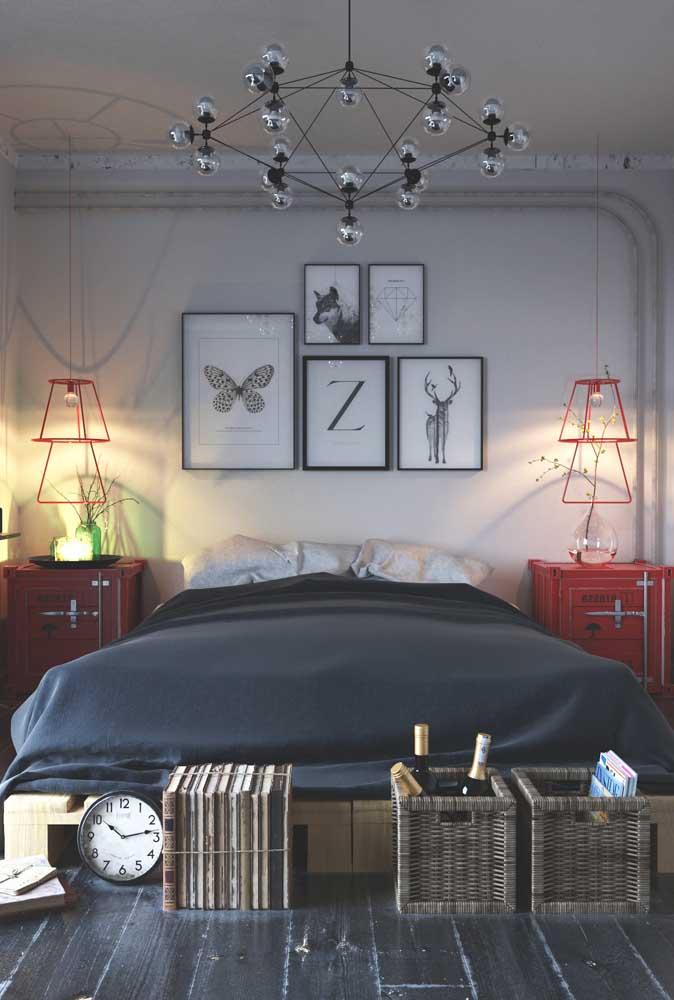 Mais uma opção de decoração de quarto de casal simples e moderno.