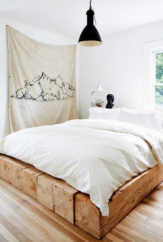 Você já pensou em fazer uma cama de madeira como essa?