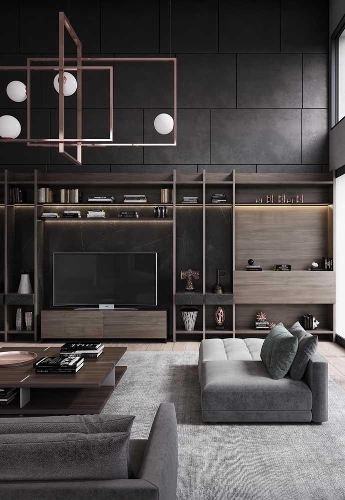 Uma das principais tendências de decoração é a combinação da cor cinza com móveis de madeira.