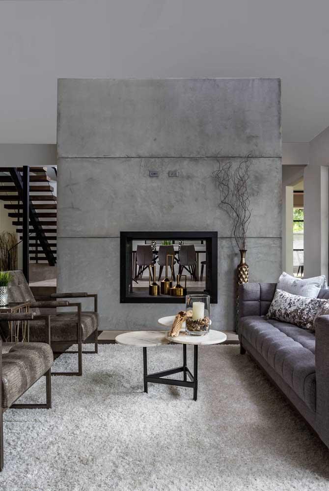 Veja que paredão cinza perfeito para a sua sala.