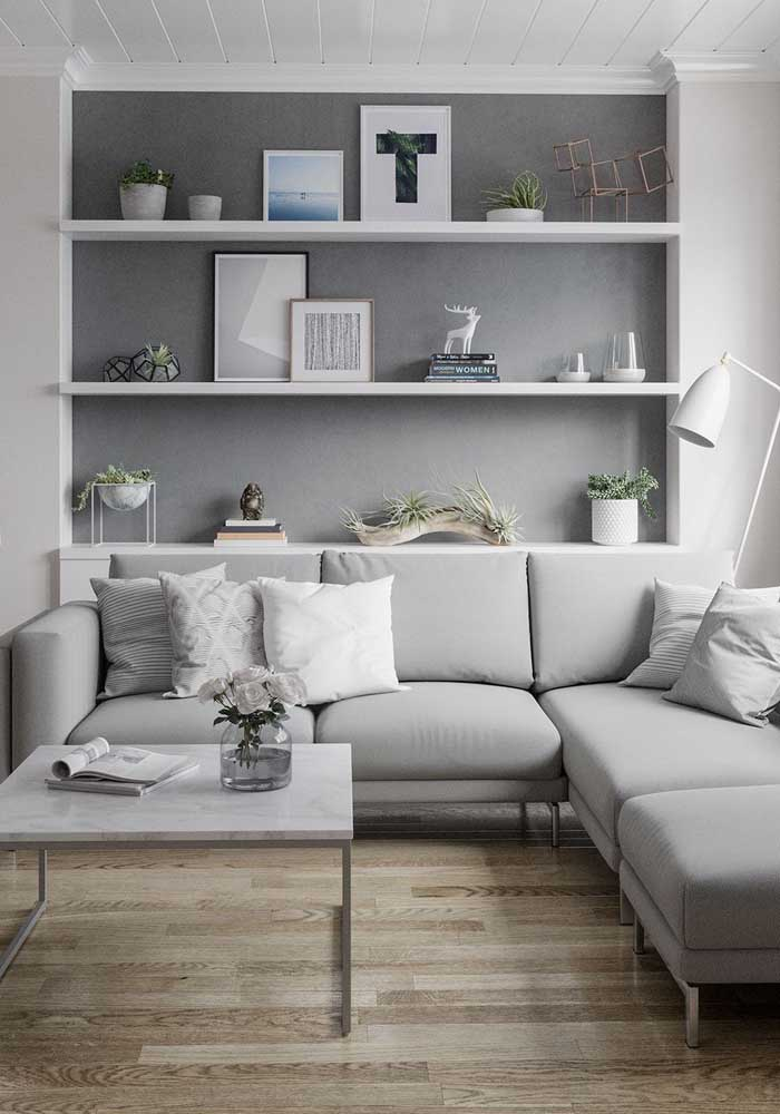 Você pode usar o mesmo tom de cinza para decorar a sala.