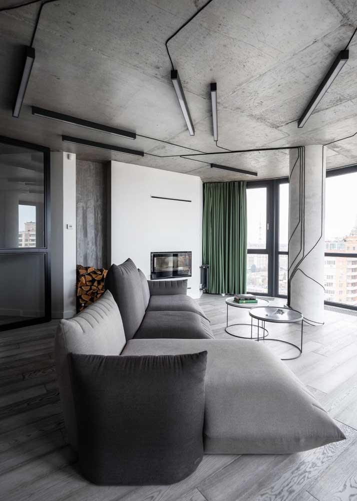 O que acha de apostar no cinza total na decoração da sala?