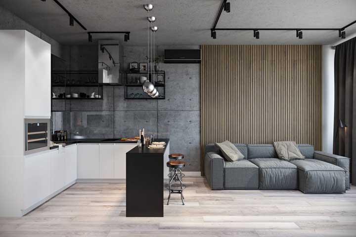 O que acha de usar a mesma decoração na sala cinza conjugada com a cozinha?