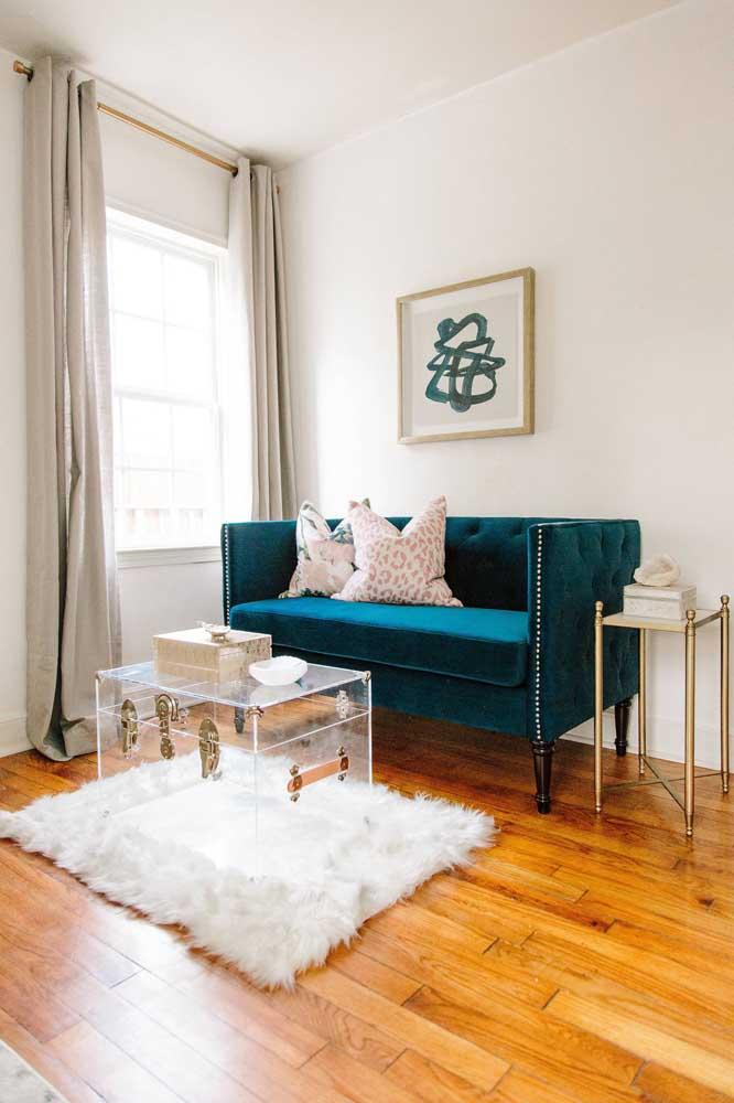 O tapete felpudo ganha destaque com o piso de madeira.