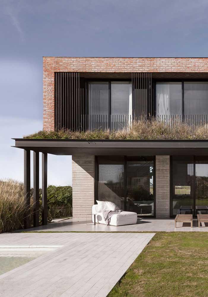 Casa de campo moderna com fachada clean