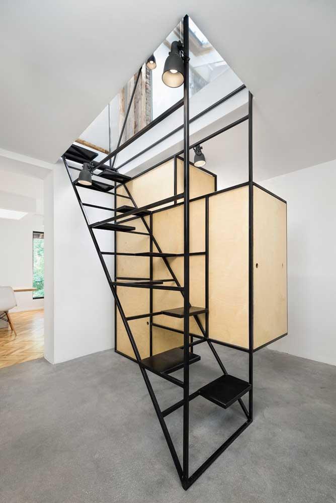 Existem vários modelos e estilos de escada de ferro.