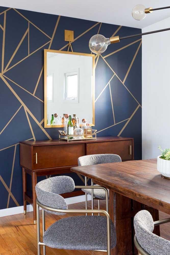 Figuras geométricas são tendências em papel de parede para sala de jantar.