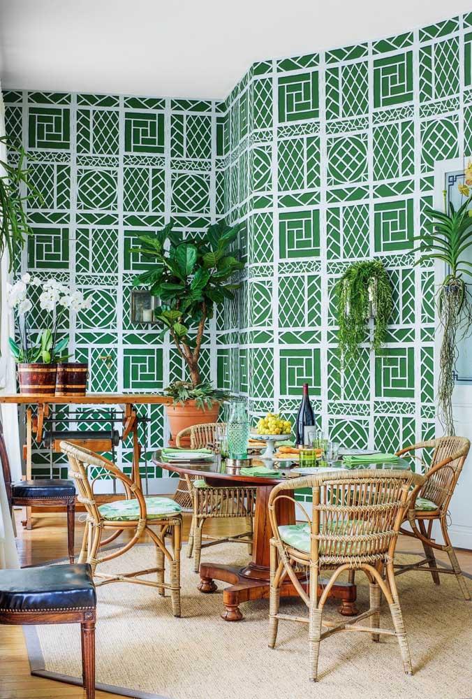 Já a cor verde fica muito bem na decoração rústica.