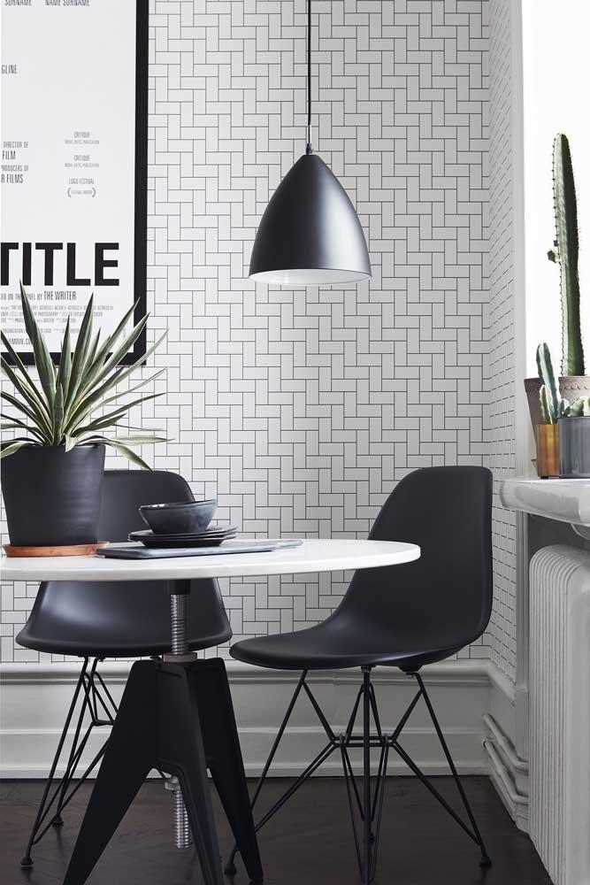 Aposte no papel de parede para sala de jantar moderna.