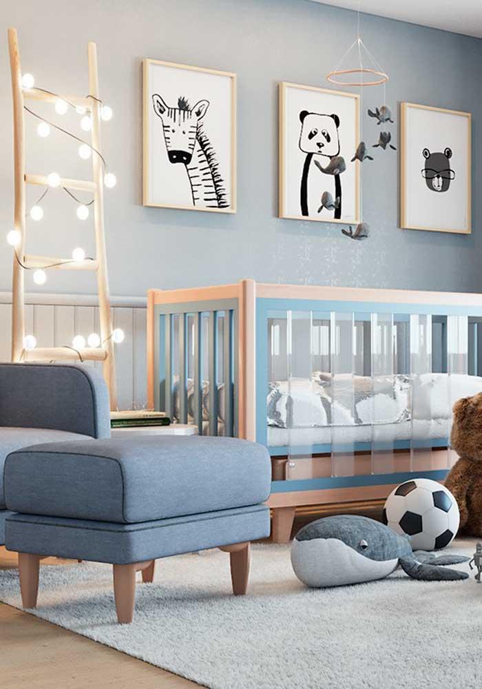 Olha que belo quarto de bebê masculino azul.
