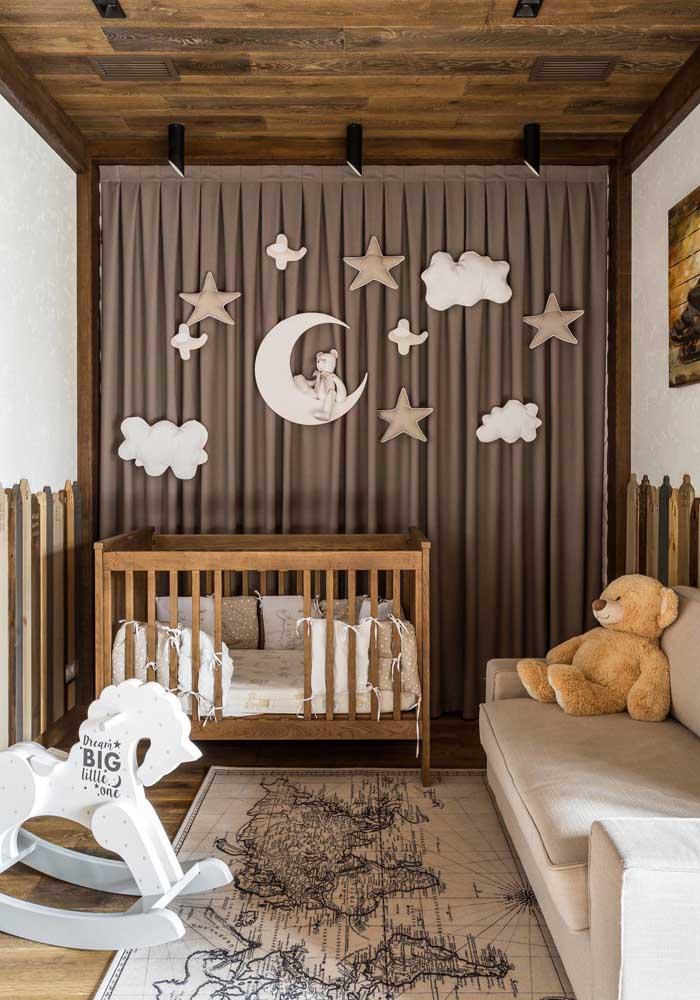 Mais uma opção de decoração de quarto de bebê masculino rústico.