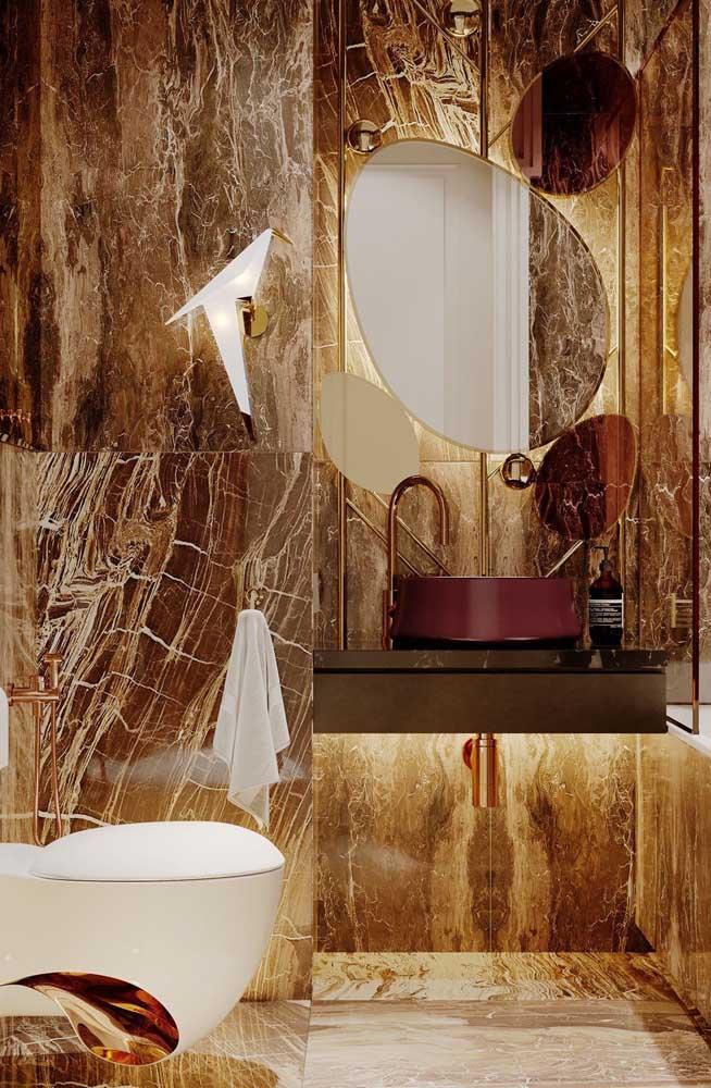 Olha que combinação diferente e luxuosa você pode fazer no banheiro.