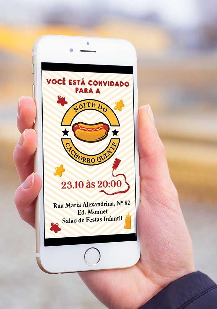 Convite digital personalizado para a noite do cachorro quente. Distribua por meio de aplicativos de mensagens