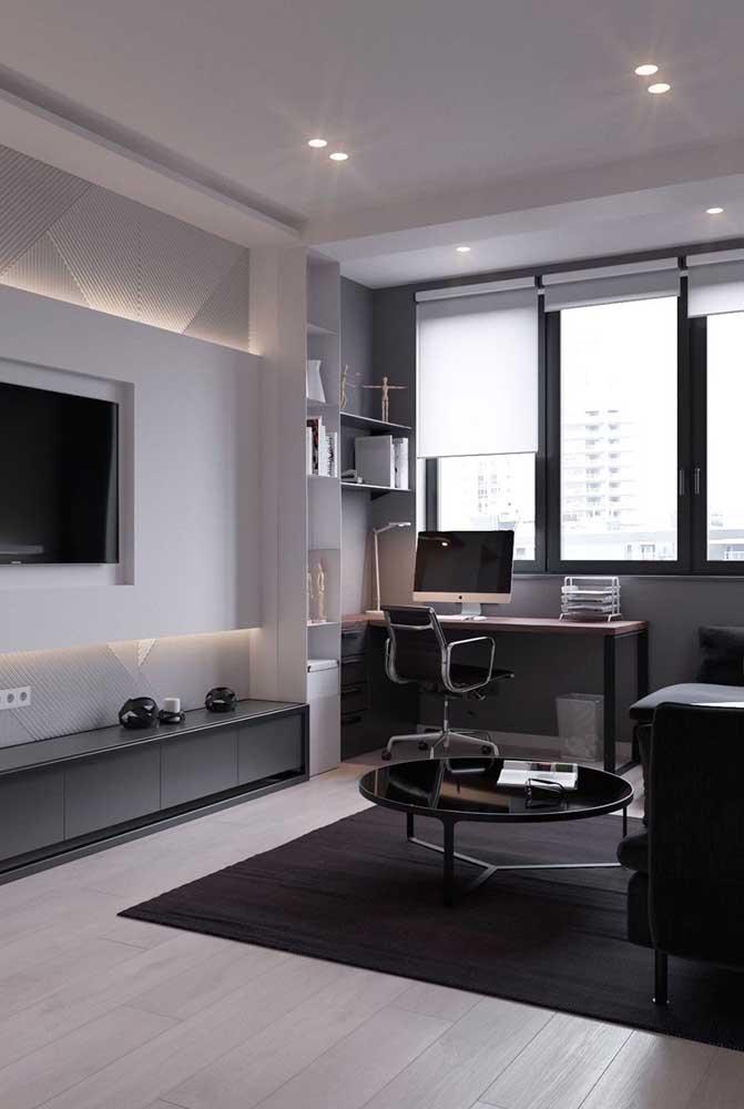 Reserve um cantinho na sala de TV para fazer um pequeno escritório.