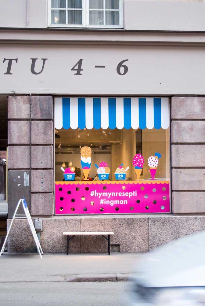 E se você tem ou pretende ter uma sorveteria, se jogue nas cores para criar uma fachada alegre e divertida