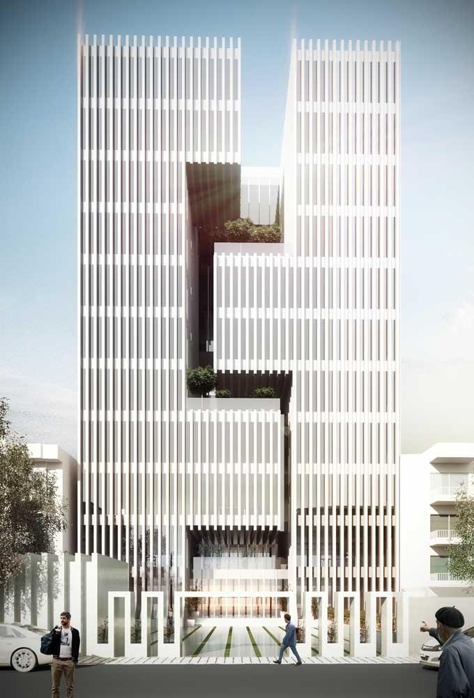 Para quem curte uma arquitetura arrojada, vale a pena investir em uma fachada comercial elaborada, assim como essa da imagem