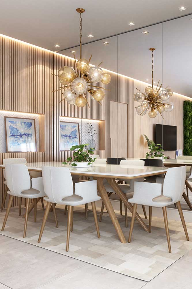 Que tal instalar um lustre redondo para sala de jantar?