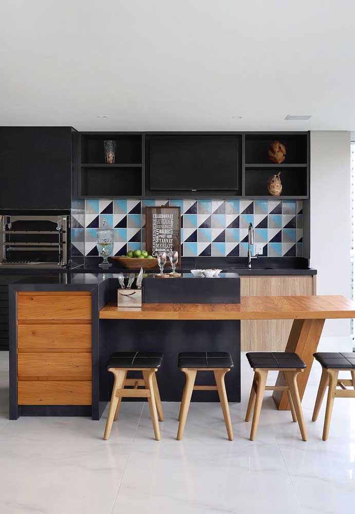 Ladrilhos coloridos para acender a decoração da área gourmet
