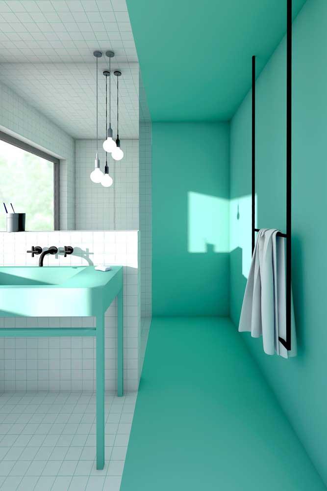 Um banheiro simples e diferente para inspirar você.