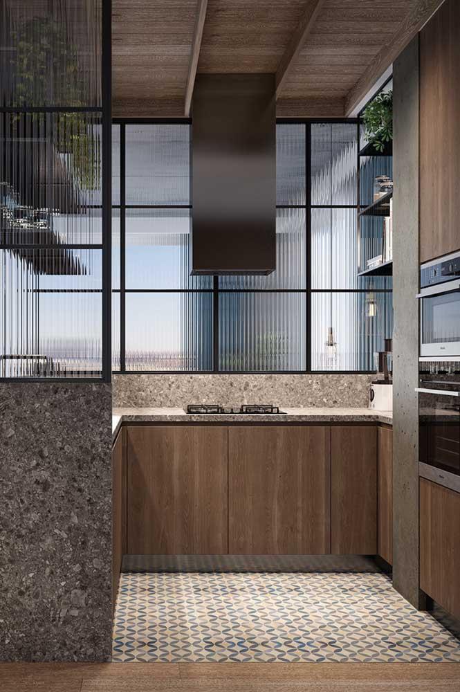 Quer uma cozinha em U moderna e com a cara do estilo industrial? Então se inspire nessa imagem