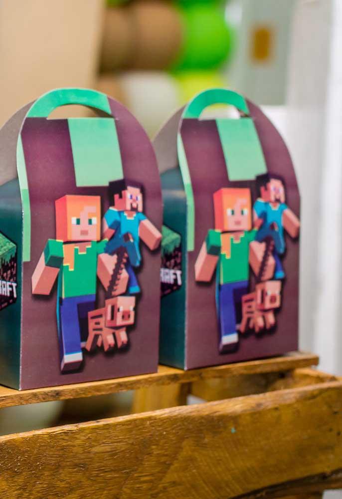 Olha como fica interessante fazer as caixinhas das lembrancinhas com minecraft.