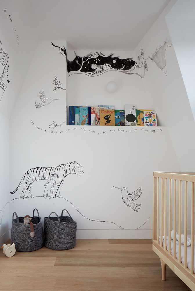 Nicho de parede para organizar e expor os livros infantis