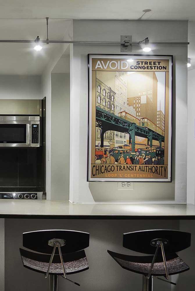 Quadro vintage para a cozinha com ilustração de uma das cidades mais famosas do mundo: Chicago