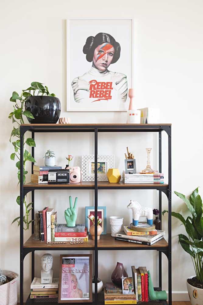 Quadro vintage em destaque na estante da sala