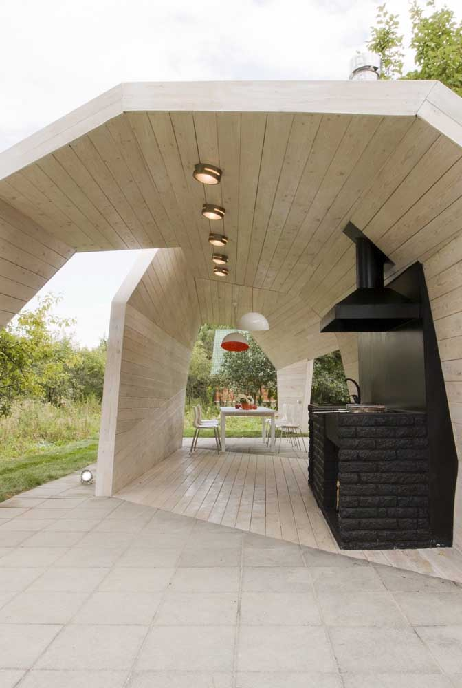 Design incrível na área de lazer com churrasqueira!