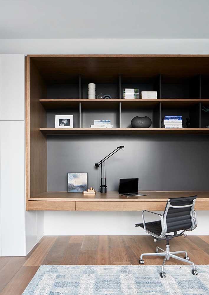 Escritório em casa moderno, elegante e super funcional. A cadeira traz todo conforto e ergonomia necessária para o trabalho