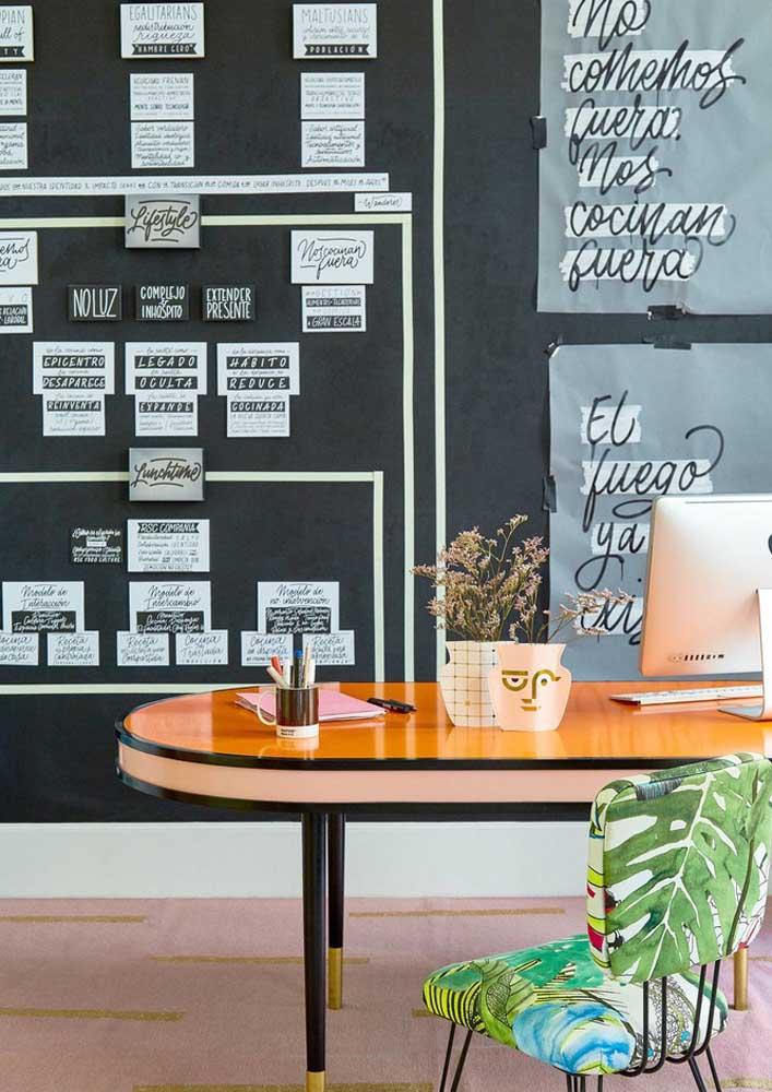 Que tal uma parede lousa no escritório para anotar tudo o que você precisa?
