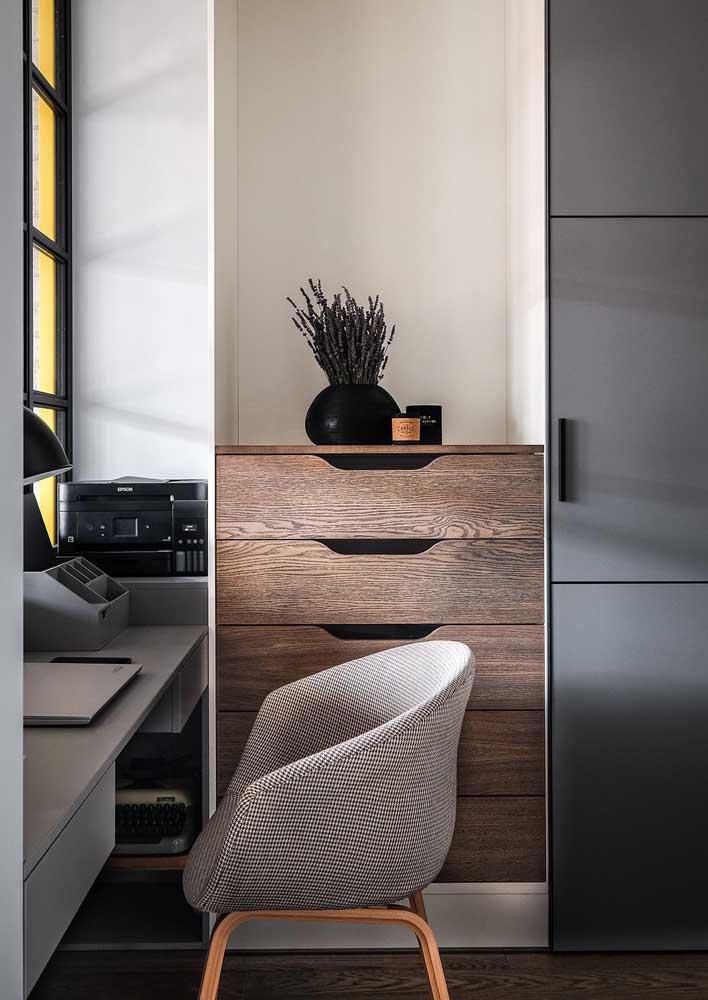 Dá para ter um escritório em casa chique e elegante. Olha só!