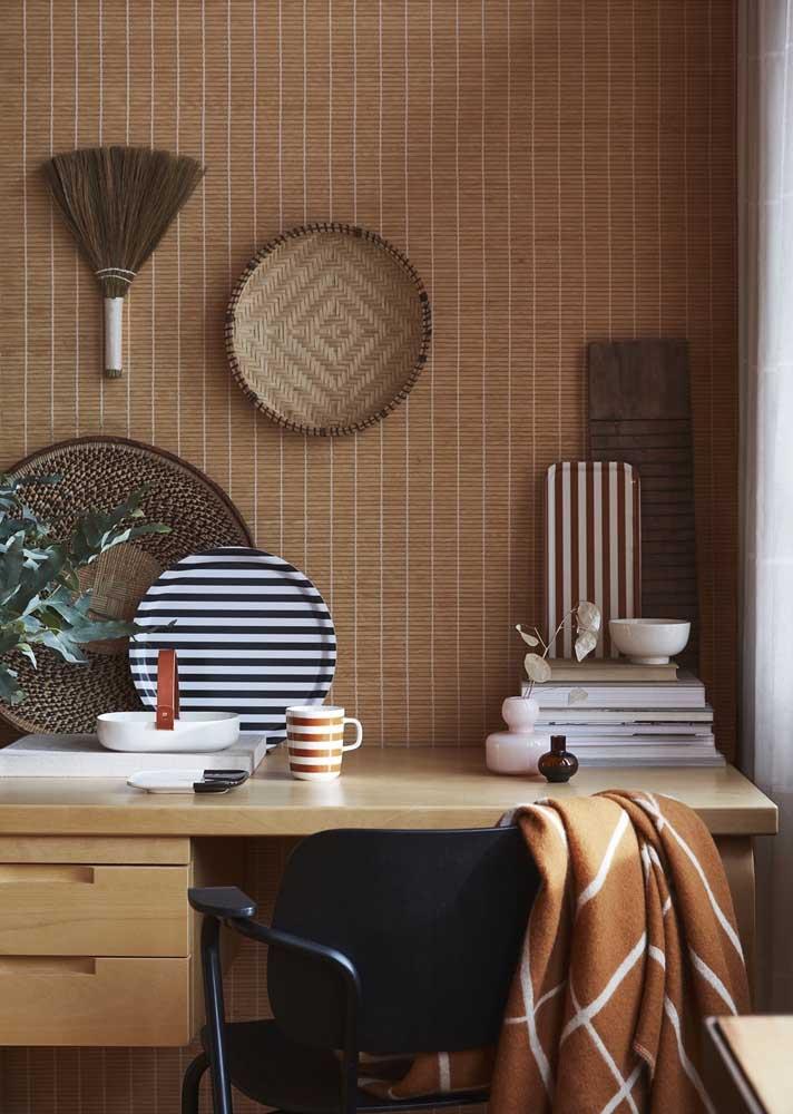O que acha de uma decoração étnica para o escritório em casa?