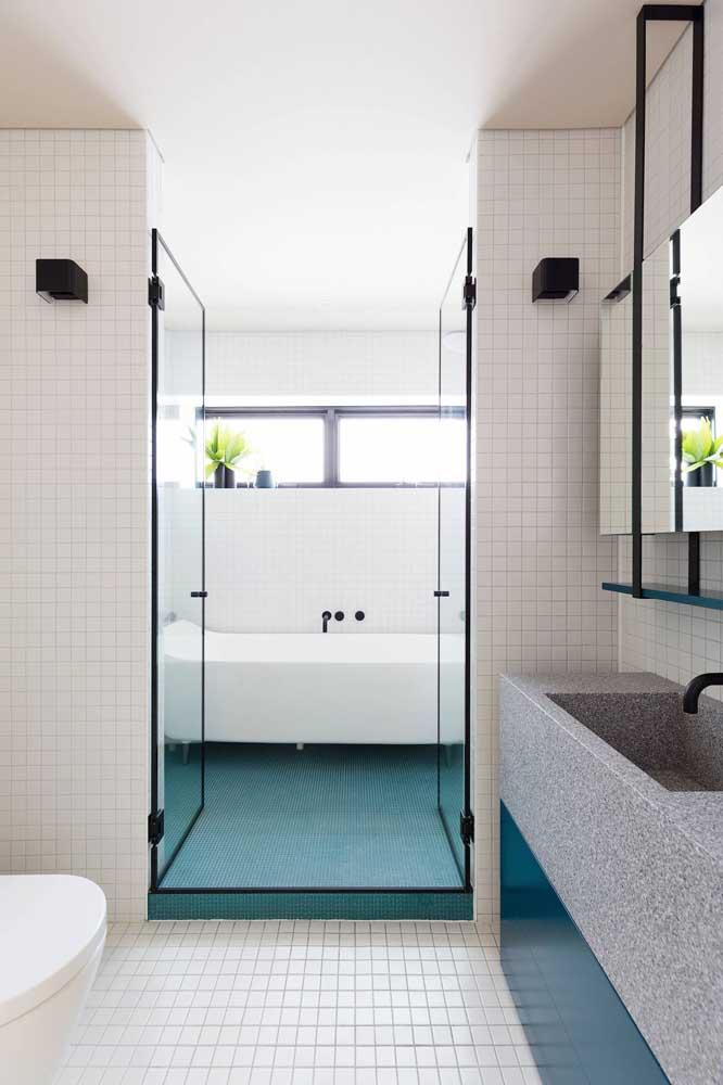 Um banheiro, dois tipos de pastilhas