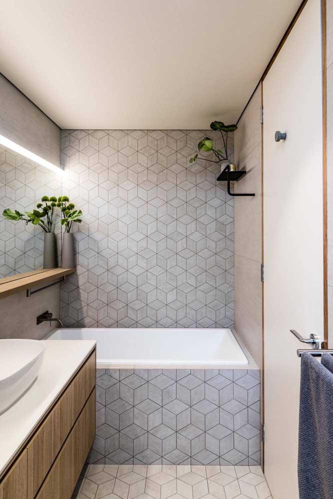 Piso geométrico com design clean usado tanto no chão, quanto na parede
