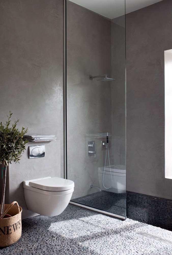 Seixos pretos para deixar o banheiro mais moderno